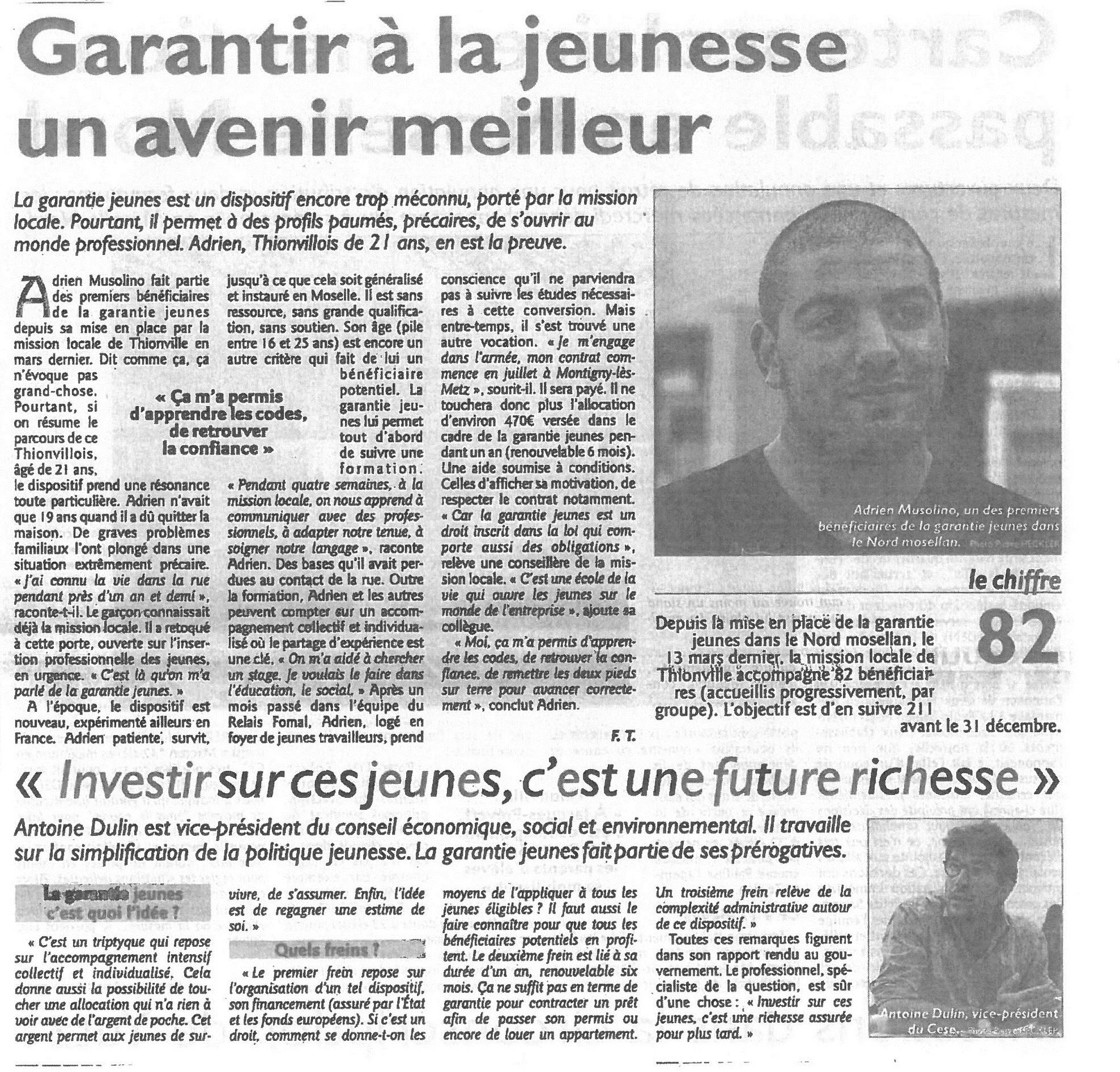 Assemblée Générale de La Mission Locale du Nord Mosellan Article du Républicain Lorrain 2017