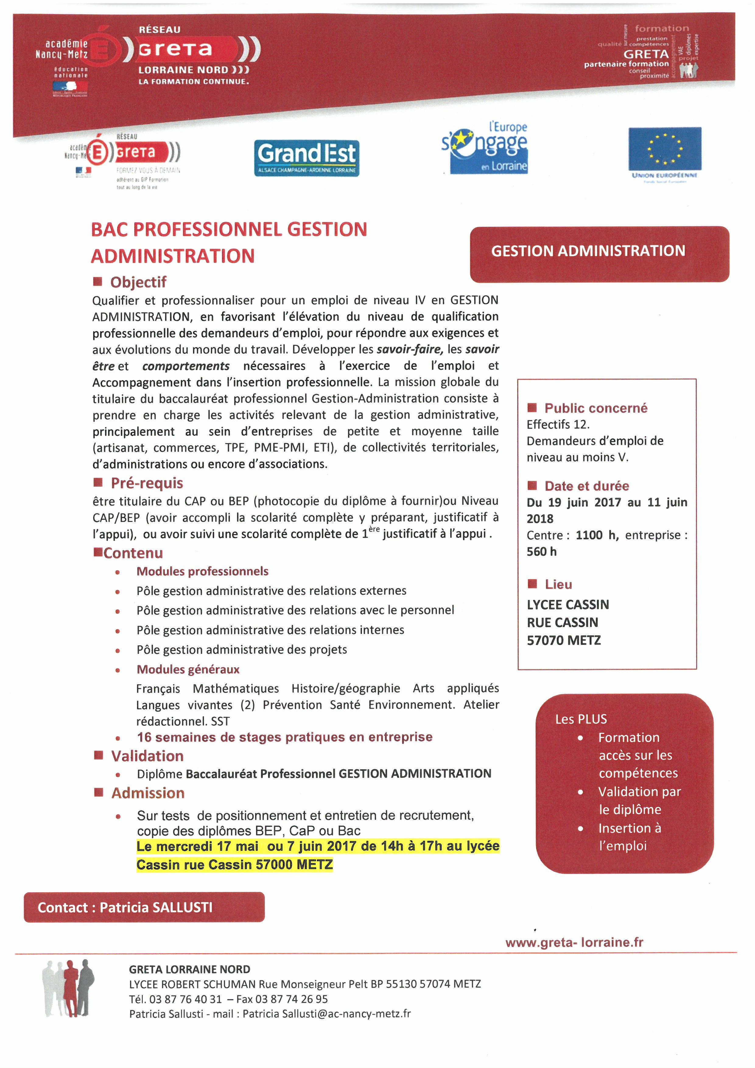 FORMATION QUALIFIANTE BAC PRO GESTION ADMINISTRATION