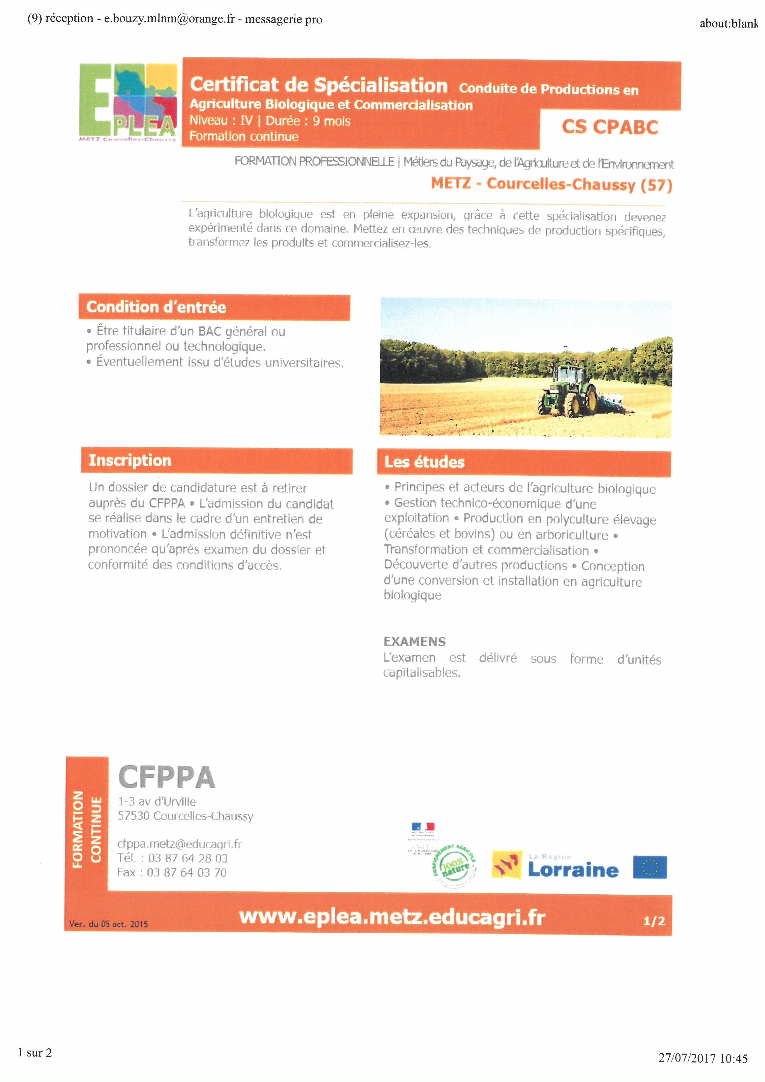 Certification de spécialisation conduite de productions en agriculture biologique et commercialisation