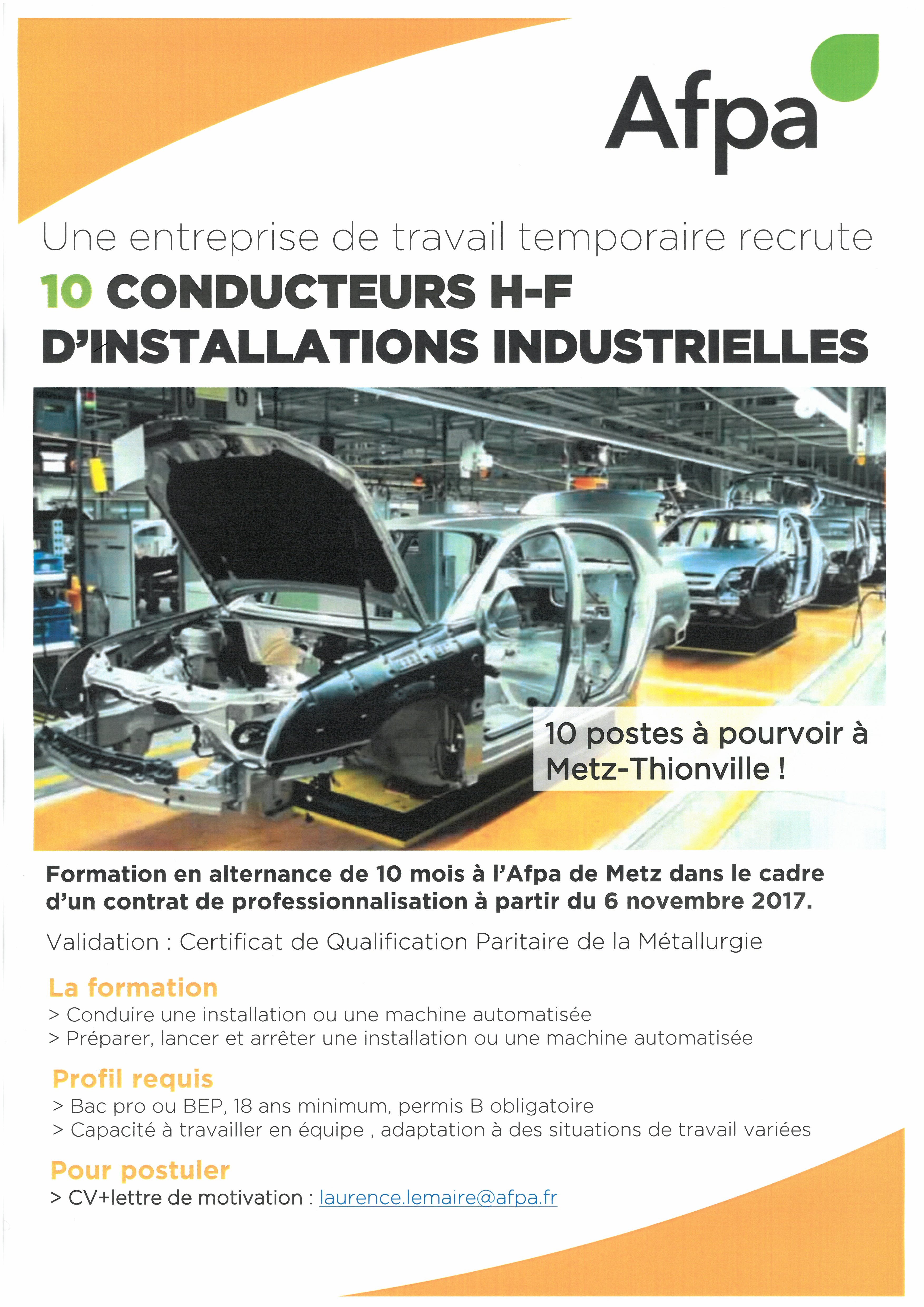 10 conducteurs d'installations industrielles