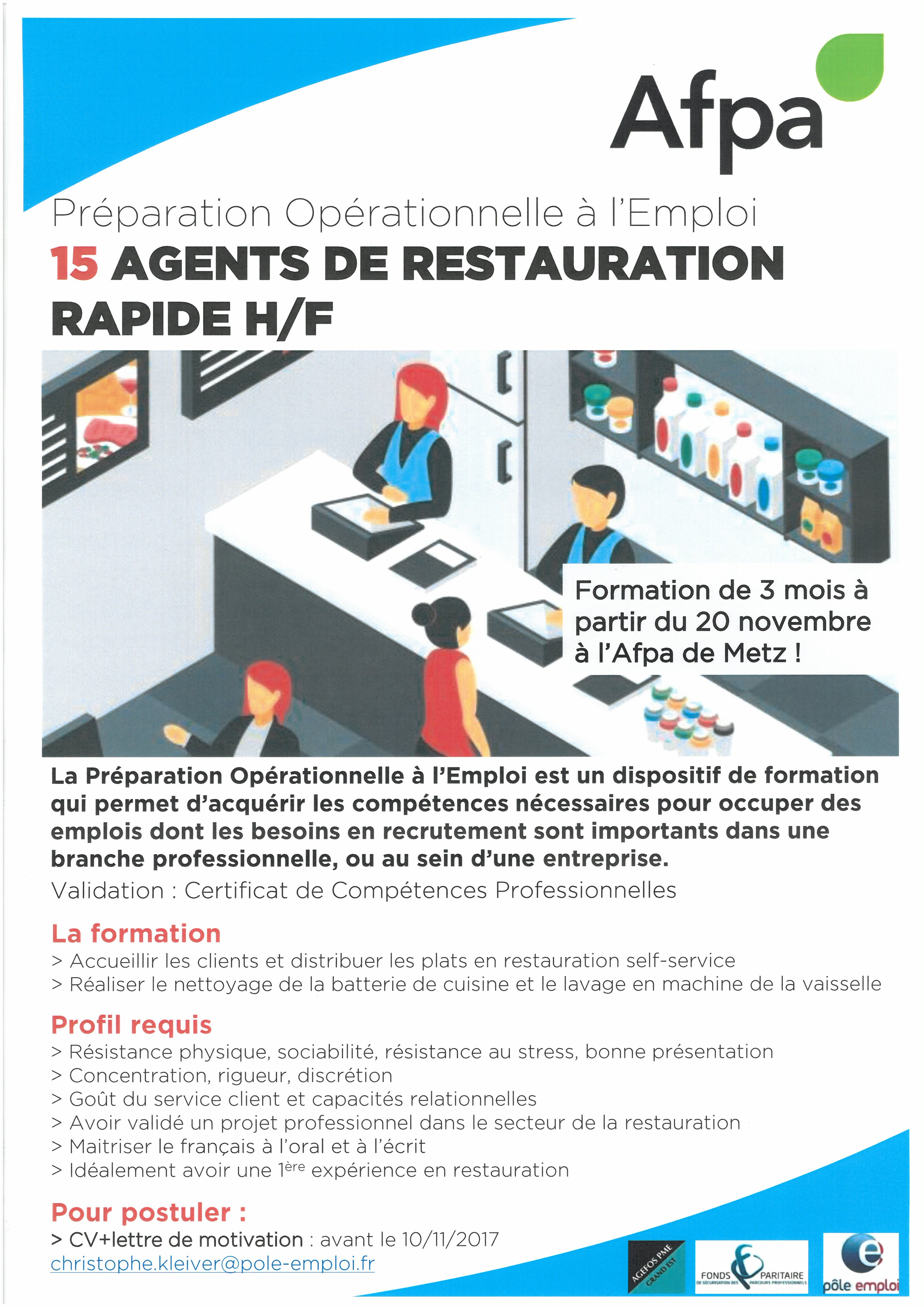 15 agents de restauration rapide H/F