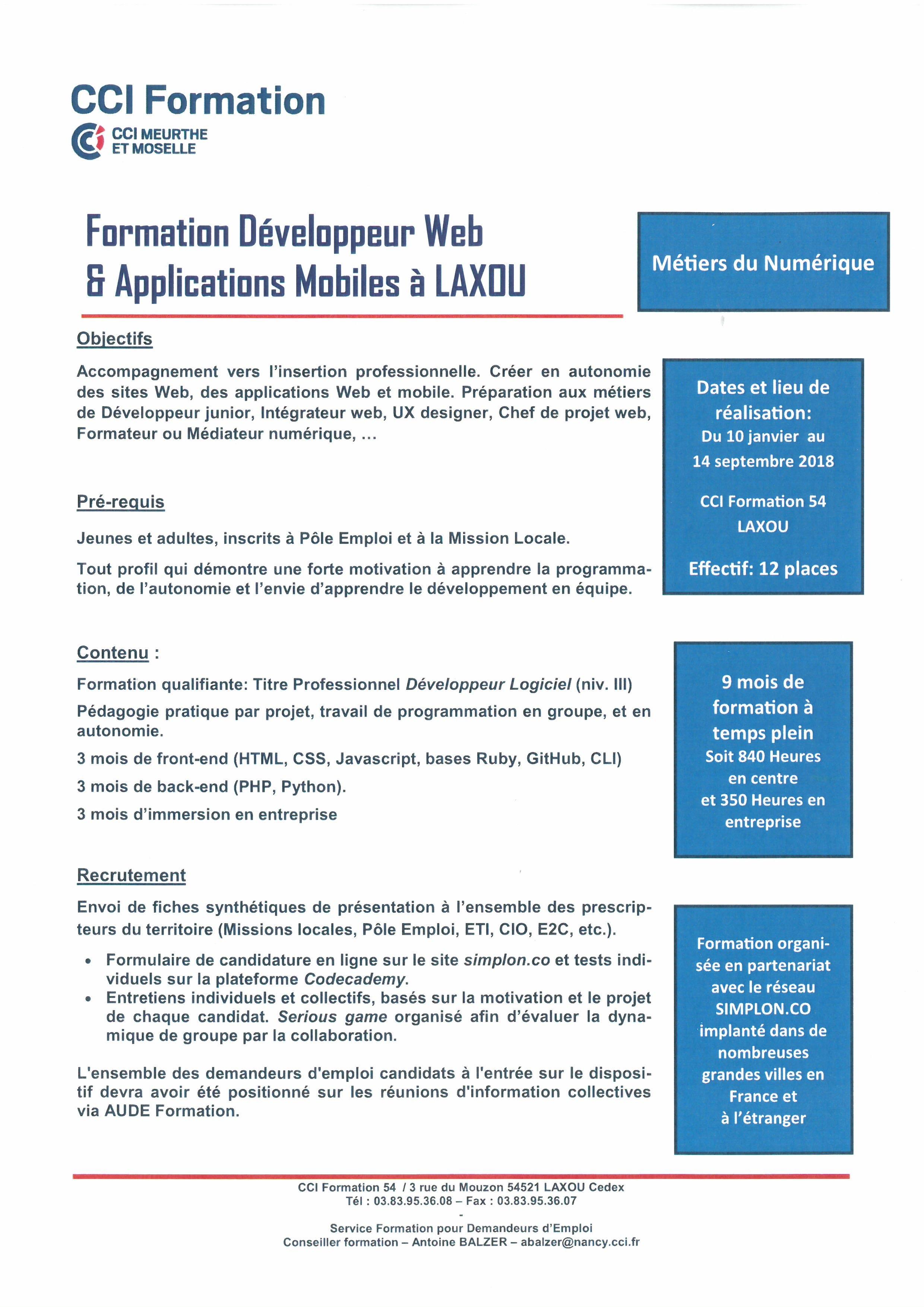 FORMATION DÉVELOPPEUR WEB & APPLICATIONS MOBILES