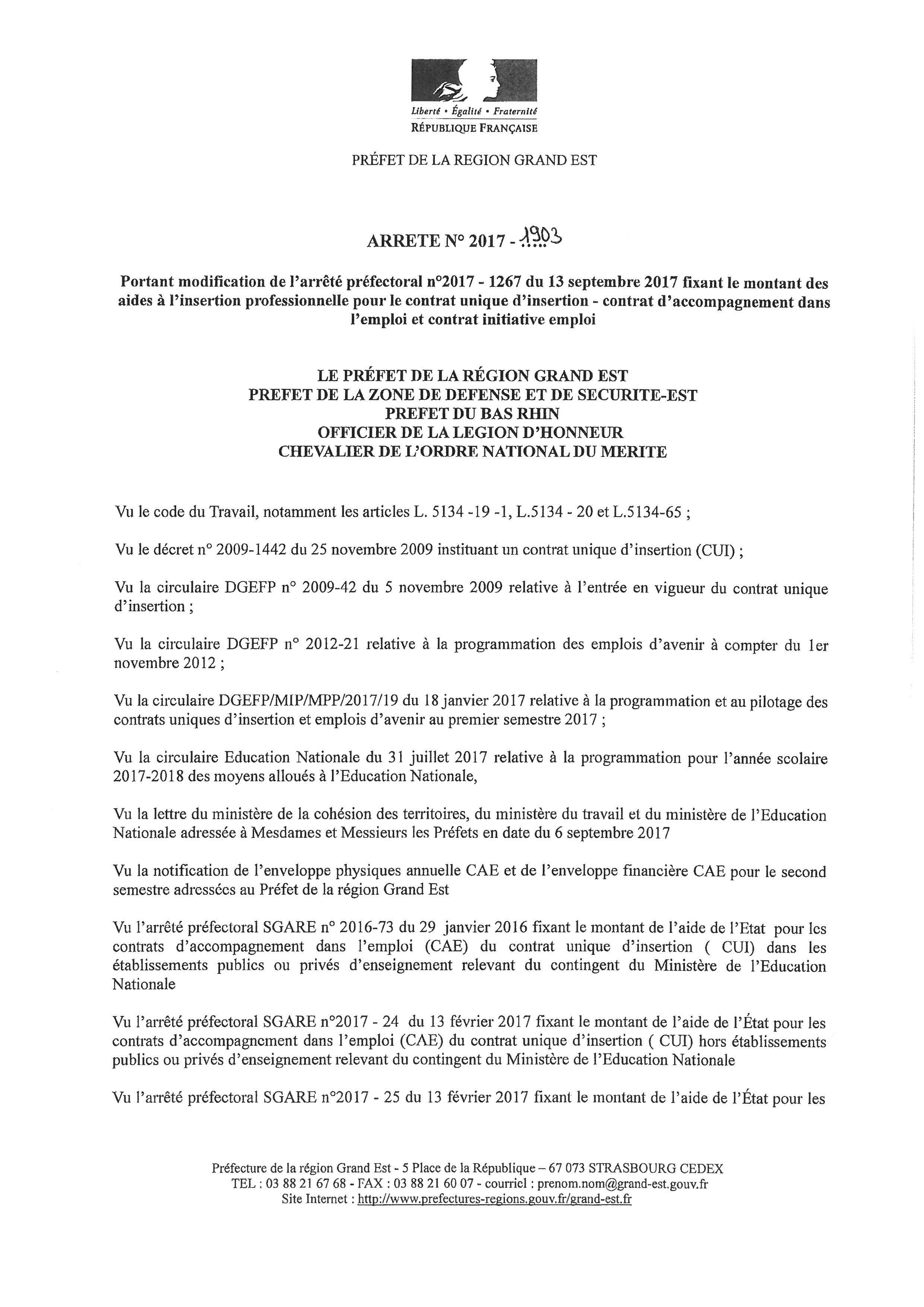 ARRÊTE 2017 SUR LE CUI