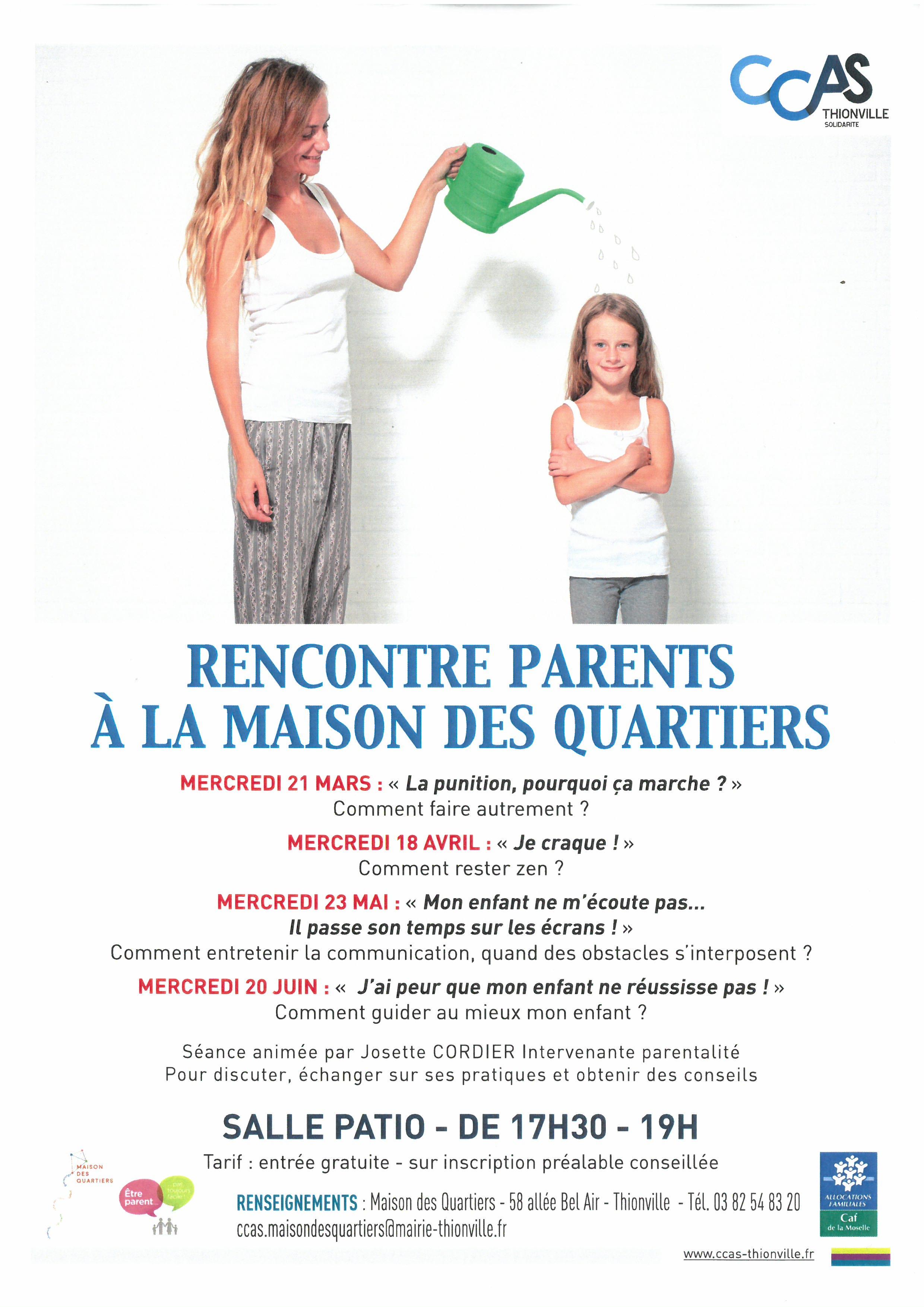 RENCONTRE PARENTS A LA MAISON DE QUARTIER
