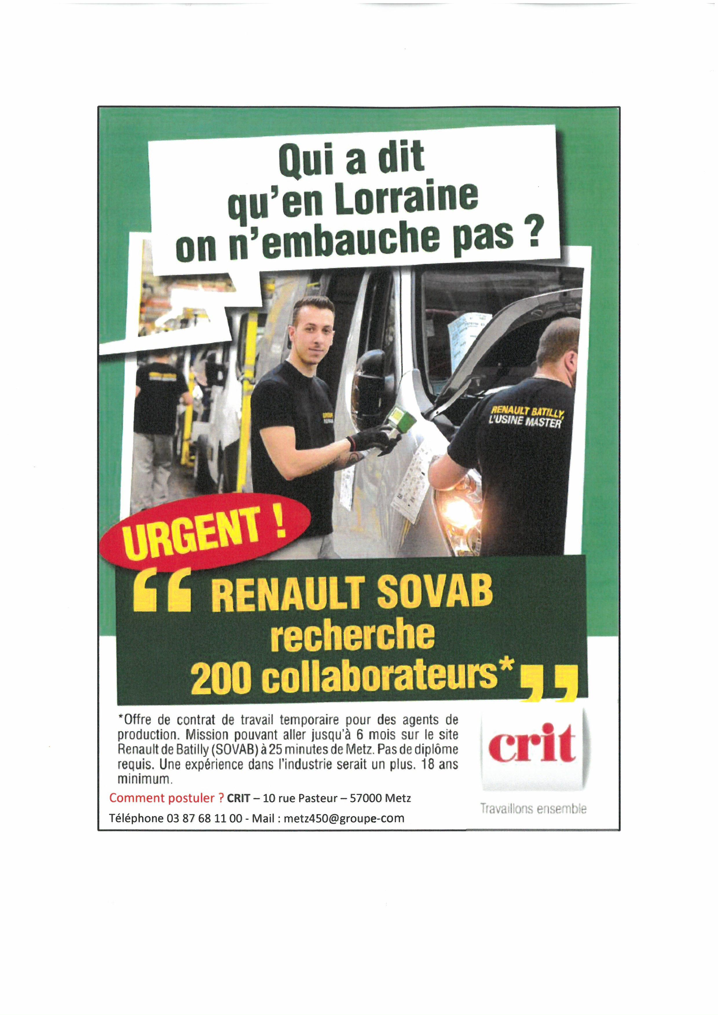 Renault Sovab recherche 200 collaborateurs
