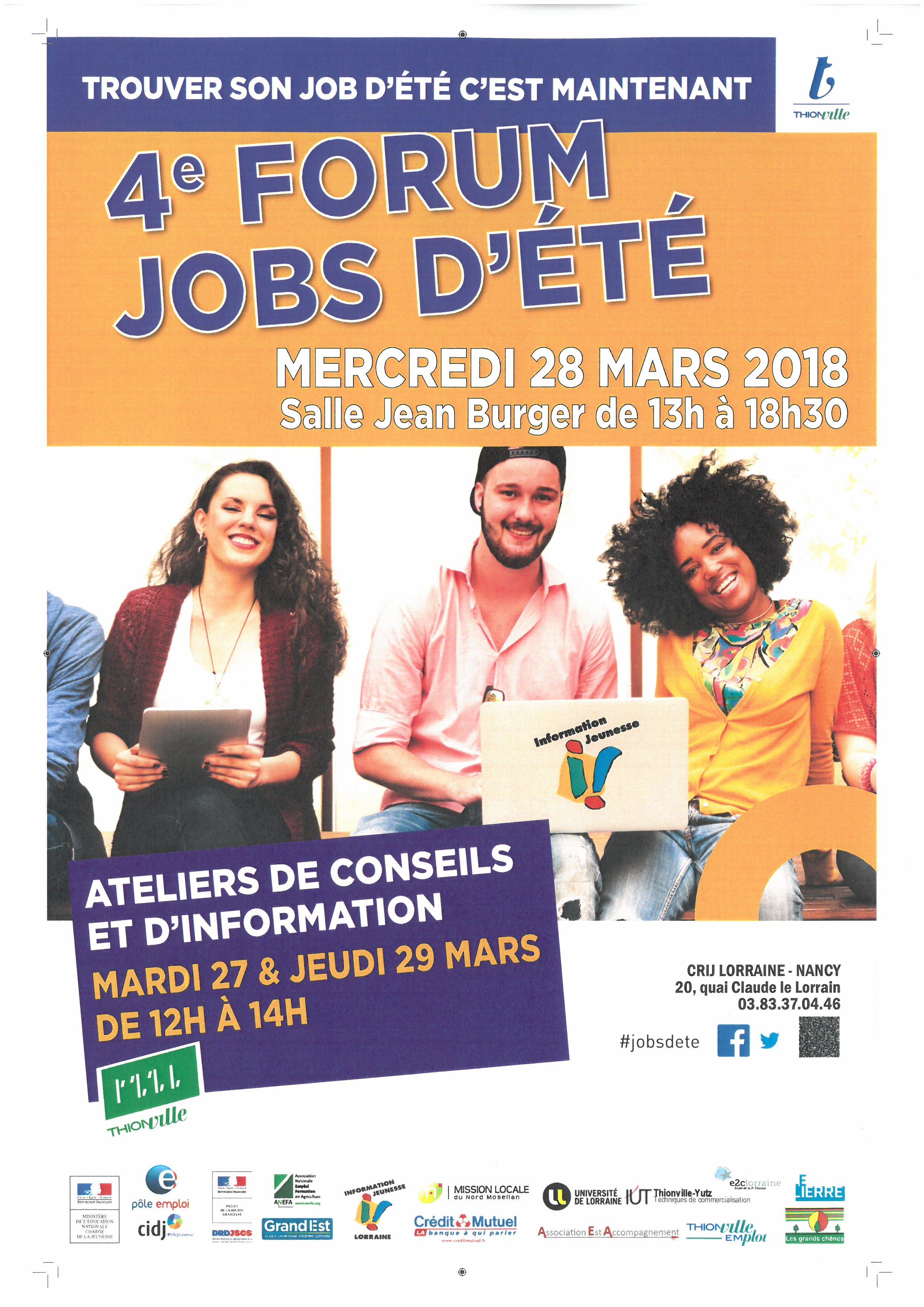 FORUM JOB D'ÉTÉ MERCREDI 28 MARS 2018  THIONVILLE