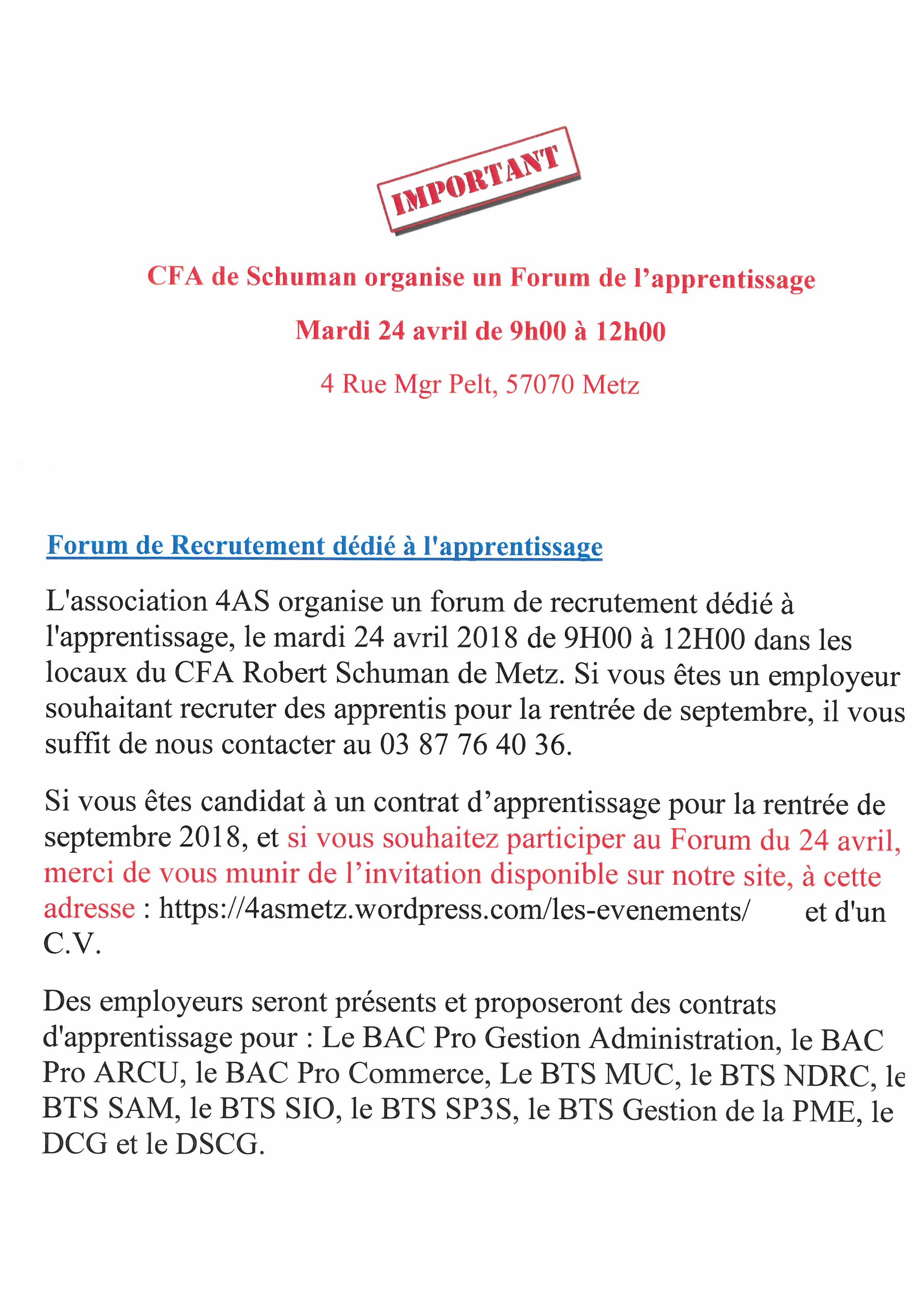 FORUM DE L APPRENTISSAGE AU CFA DE SCHUMAN