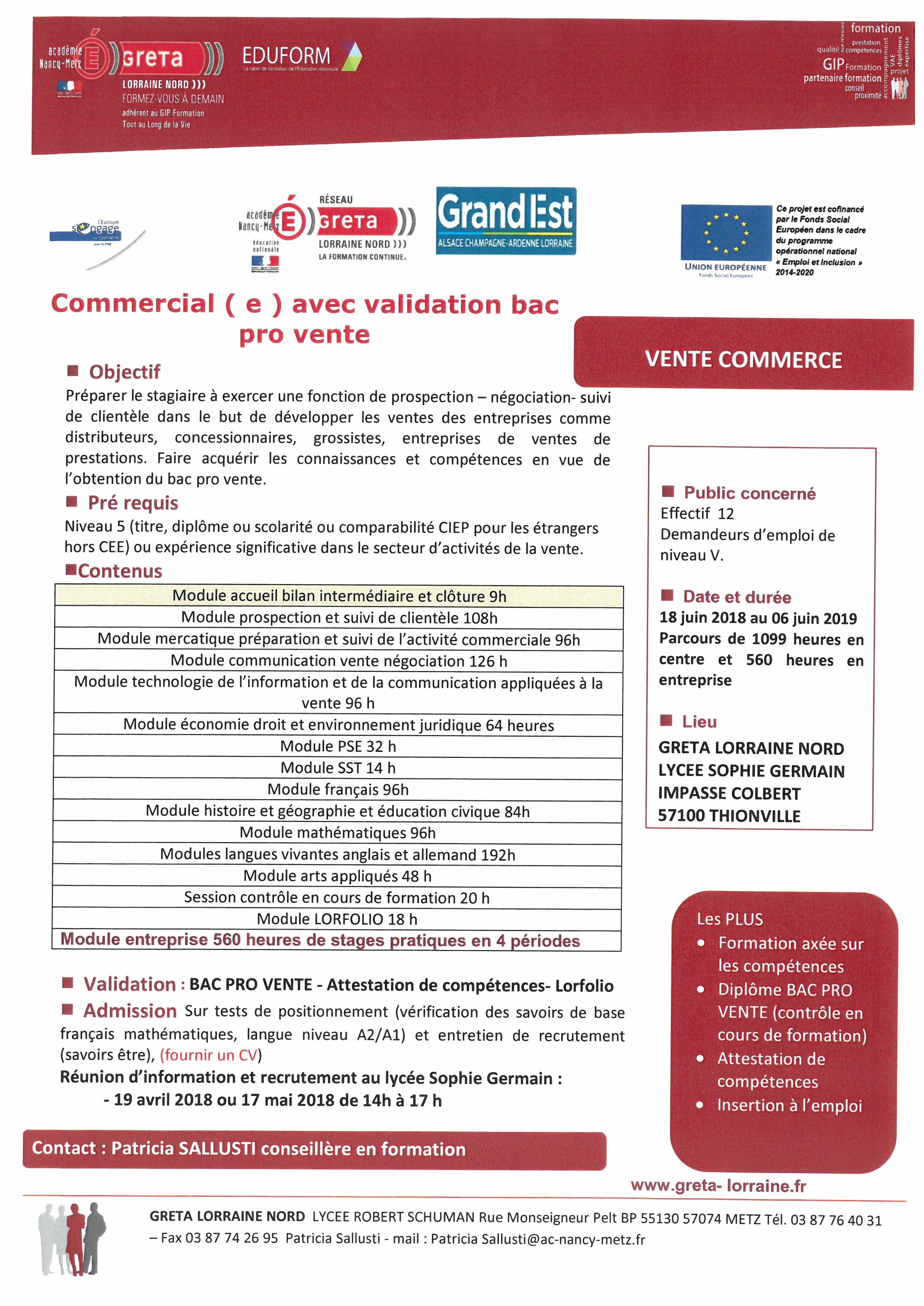 Formation Bac pro vente au Lycée Sophie Germain à Thionville