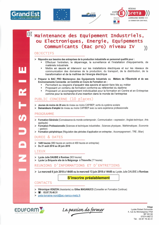 FORMATION MAINTENICIEN DES EQUIPEMENTS INDUSTRIELS ELECTROTECHNIQUES ENERGIE EQUIPEMENTS COMMUNICANTS (BAC PRO)