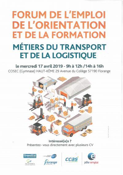 Forum de l'emploi, de l'orientation et de la formation – métiers du transport et de la logistique
