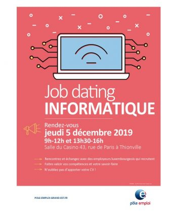 JOB DATING INFORMATIQUE: Jeudi 5 décembre 2019