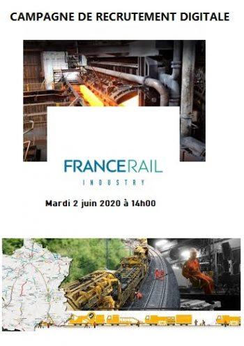 Campagne de recrutement digitale chez FRANCE RAIL Mardi 2 juin 2020 à 14h00