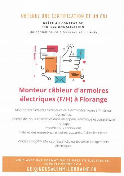 Contrat de professionnalisation de Monteur câbleur d'armoires électriques