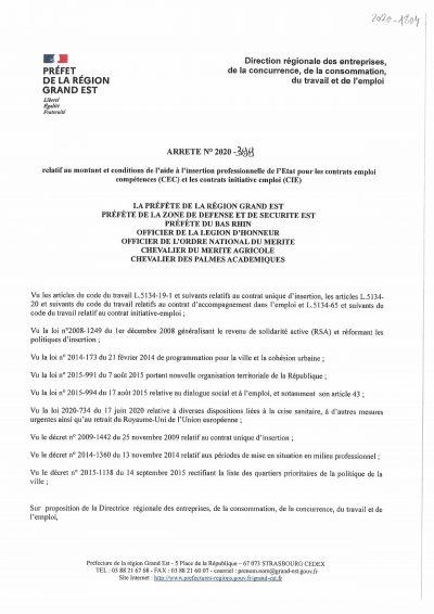 Arrêté préfectoral relatif au montant de l'aide à l'insertion professionnelle de l'État pour les contrats emploi compétences (CEC) et les contrat initiative emploi (CIE)