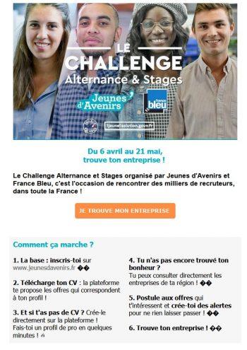 Jeunes d'Avenir Le Challenge Alternance & stages Du 6 avril au 21 mai !