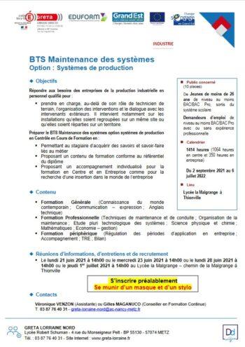 Formation BTS Maintenance des systèmes