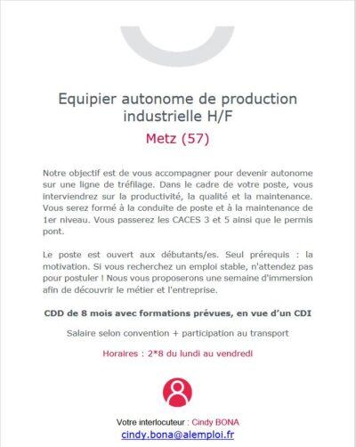 Équipier autonome de production industrielle