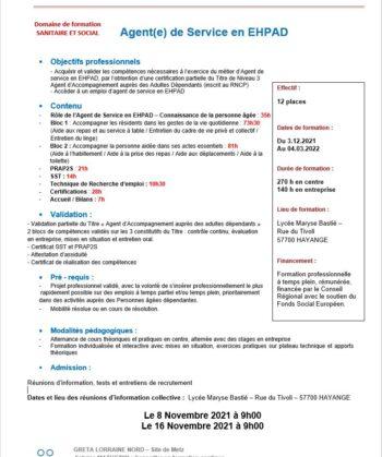 Formation d'Agent de service en EHPAD